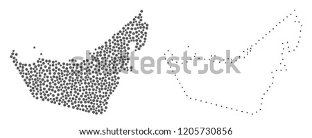 Dot and Frame map of United Arab Emirates formed with dots. Vector grey abstraction of map of United Arab Emirates. Connect the dots educational geographic drawing for map of United Arab Emirates.