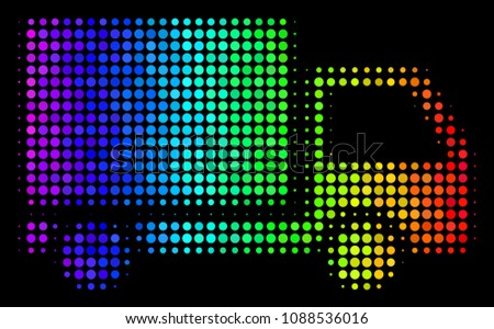 Dot colorful halftone delivery lorry icon in spectral color shades with horizontal gradient on a black background. Color vector composition of delivery lorry illustration formed of spheric pixels.