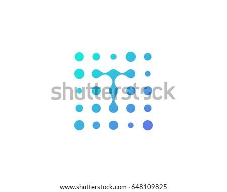 dot digital letter t icon logo