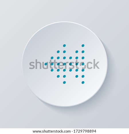 Dot fast backward music. Cut circle with gray and blue layers. Paper style