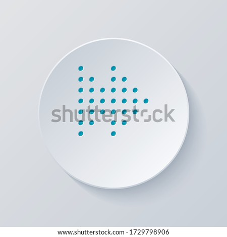 Dot fast forward music. Cut circle with gray and blue layers. Paper style