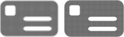 Dot halftone banking card icon. Vector halftone pattern of banking card icon constructed from spheric items.