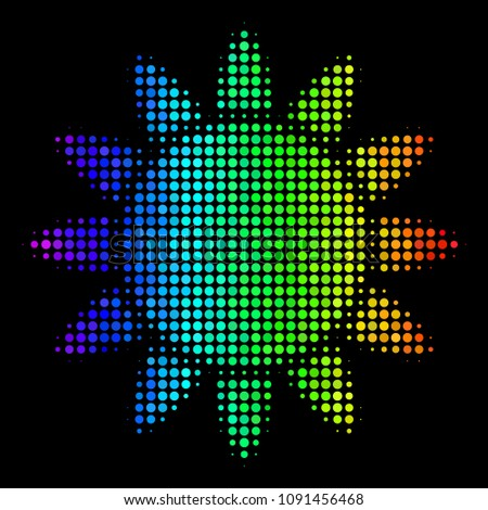 Stock Photo Dot impressive halftone sun icon in rainbow color variations with horizontal gradient on a black background. Bright vector mosaic of sun pictogram made with circle dots.
