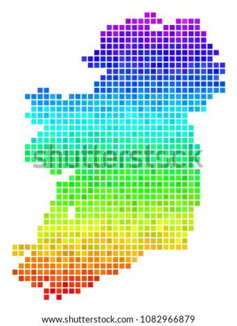 dot ireland island map vector
