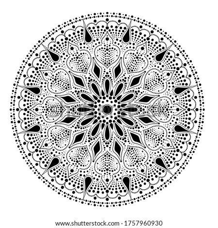 Dot mandala for acrylic painting. Spot painting point to point. Abstract design of mandala in dot paint style. Aboriginal australian ethnic round ornament black color on white background Stock photo ©