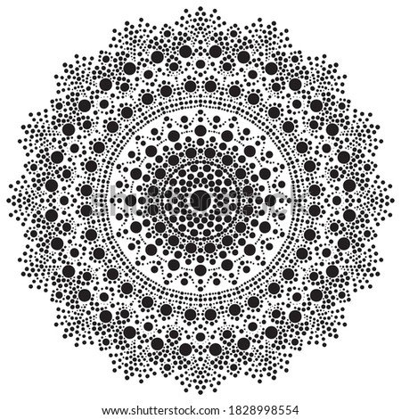 Dot mandala for acrylic painting. Spot painting point to point. Abstract design of mandala in dot paint style ethnic round ornament.Hand drawn background. Islam, Arabic, Indian Stock photo ©