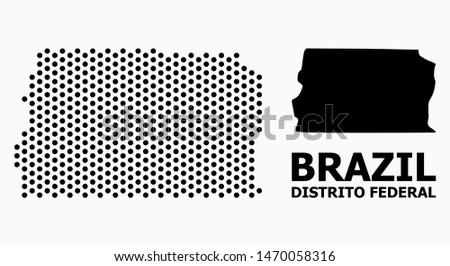 Dot map of Brazil - Distrito Federal composition and solid illustration. Vector map of Brazil - Distrito Federal composition of spheric dots with honeycomb periodic order on a white background.