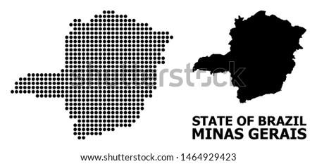 Dot map of Minas Gerais State composition and solid illustration. Vector map of Minas Gerais State composition of circle pixels on a white background.
