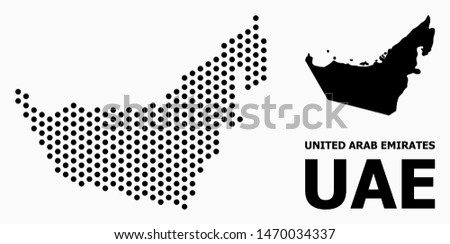 Dot map of United Arab Emirates composition and solid illustration. Vector map of United Arab Emirates composition of spheric spots with honeycomb periodic pattern on a white background.