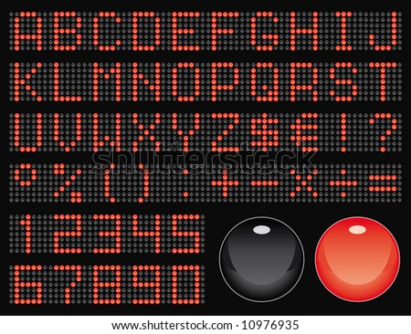 dot-matrix display font (50 characters) - stock vector