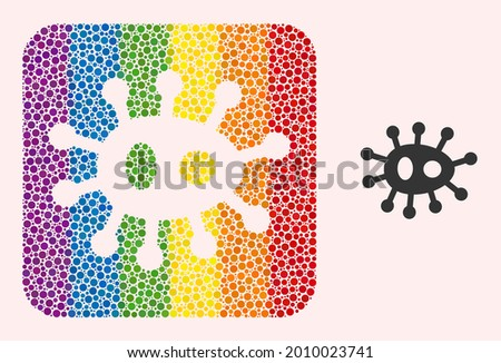 Dot mosaic bacilla subtracted pictogram for LGBT. Colorful rounded rectangle mosaic is around bacilla cut out shape. LGBT rainbow colors. Vector bacilla composition of sphere spots. Stock photo ©