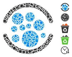 Dot Mosaic based on full. Mosaic vector full is designed with randomized rectangle items. Bonus icons are added.