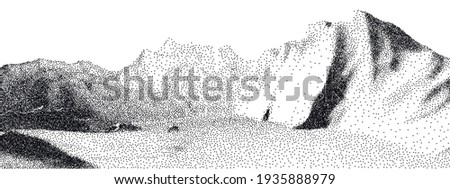 dot stipple landscape mountains
