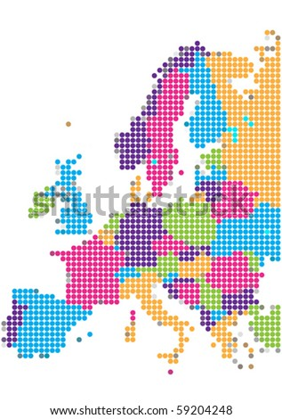 Dot Style Illustration of Europe Map - stock vector