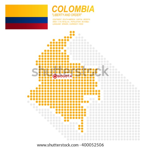 dot style of colombia map and
