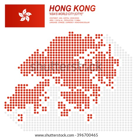 Dot style of Hong Kong map and flag on white background.(EPS10 art vector)