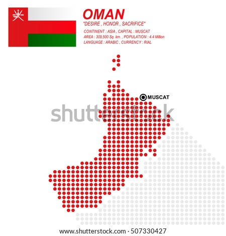 Dot style of Oman map and flag on white background.(EPS10 art vector)