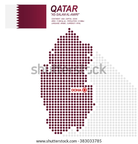 Dot style of Qatari map and flag on white background.(EPS10 art vector)