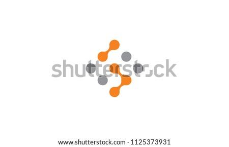 dot technology connection icon vector logo