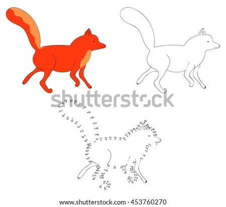 Dot To Dot Educational Game For Children. Cartoon Fox. Connect The ...