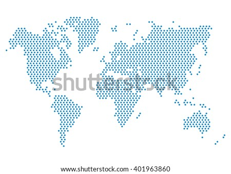 Dot World Map isolated on white background. Blue continent points vector. Worldmap Vector template for website, design, cover, annual reports, infographics. Flat Earth Graph World map illustration.