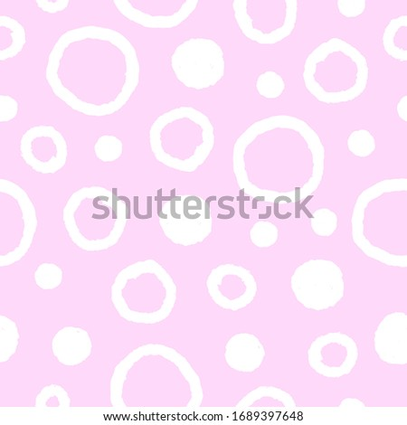 Dots and circles on pink background seamless pattern. Cute baby texture. Vector illustration.