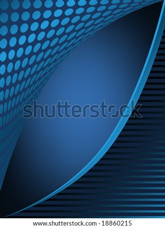 Dots and stripes blue business abstract has angle opening for text area and glow background.
