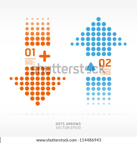 dots arrows orange and blue color / can be used for infographics / numbered banners / graphic or website layout vector