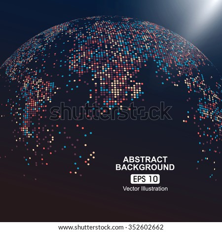 Dots colorful three-dimensional map of the world, abstract graphics.