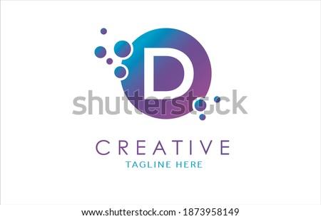 Dots D Letter Logo in Beautiful Gradient Color. D Letter bubbles Vector. Zdjęcia stock ©