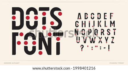 Dots font art alphabet letters. Creative logo letters with points. Trendy futuristic typographic design. Fun letter set for carnival logo, music cover, poster headline type. Vector typeset with balls