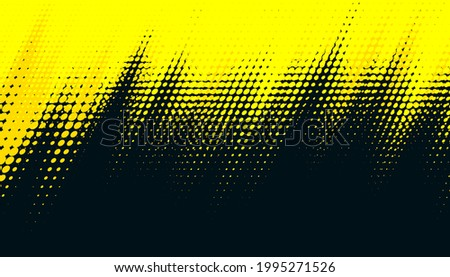 Dots halftone yellow and dark blue color pattern gradient grunge texture background. Dots pop art sport style vector illustration.
