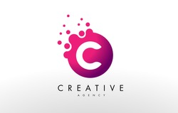 Dots Letter C Logo. C Letter Design Vector with Dots.