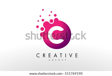 Dots Letter C Logo. C Letter Design Vector with Dots. stock photo