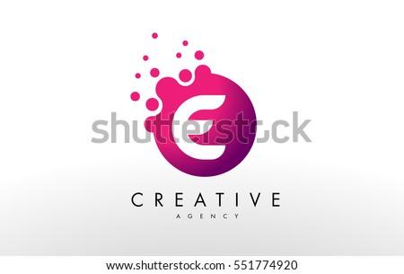 Dots Letter E Logo. E Letter Design Vector with Dots.