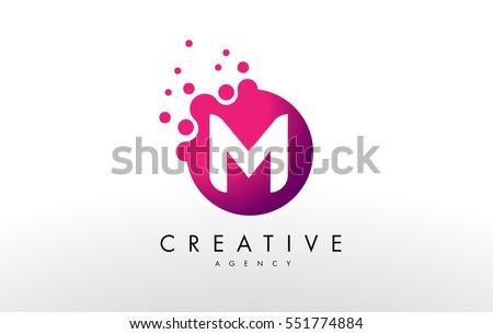 Dots Letter M Logo. M Letter Design Vector with Dots.