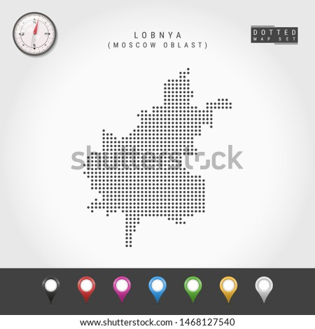 Dots Map of Lobnya, Moscow Oblast. Simple Silhouette of Lobnya. Vector Compass. Multicolored Map Markers. Vector Illustration. Сток-фото ©