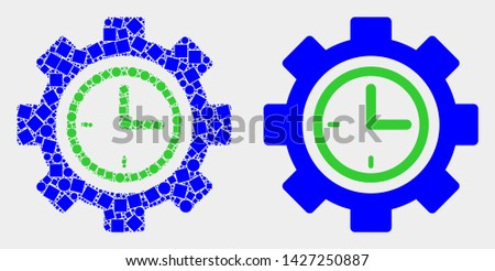 Dotted and flat clock setup wheel icons. Vector mosaic of clock setup wheel formed of randomized square dots and round dots.