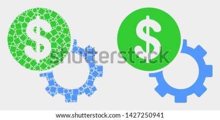 Dotted and flat dollar setup gear icons. Vector mosaic of dollar setup gear created of randomized rectangle elements and spheric dots.