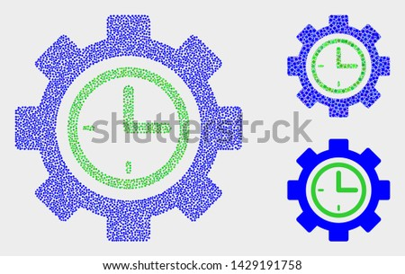 Dotted and mosaic clock setup wheel icons. Vector icon of clock setup wheel designed of random spheric elements. Other pictogram is created from elements.