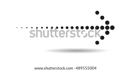 Dotted Arrow Icon in trendy flat style on white background. Arrow symbol for your web site design, logo, app, UI. Vector illustration, EPS10.