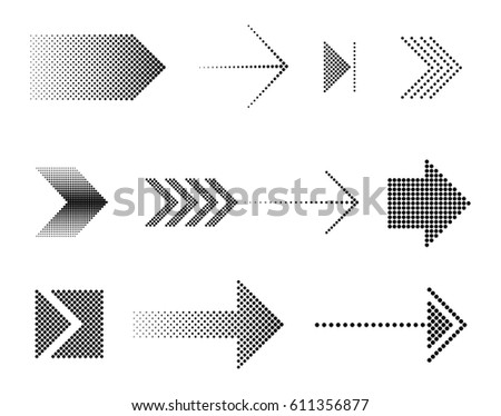 Dotted arrow icon set..Vector halftone arrows.