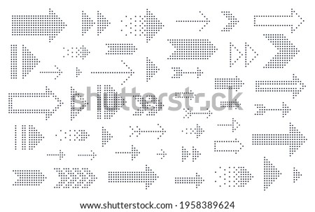Dotted arrows big vector set of icons or logos, collection of direction cursors made with dots, perforated symbols, different shapes arrows for graphic design usage. Сток-фото ©