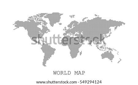 Dotted blank black world map isolated on white background. World map vector template for website, infographics, design. Flat earth world map with round dots illustration. #549294124