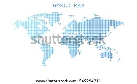 dotted blank blue world map