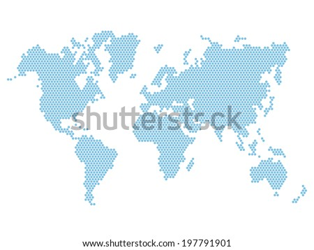 dotted blue world map isolated