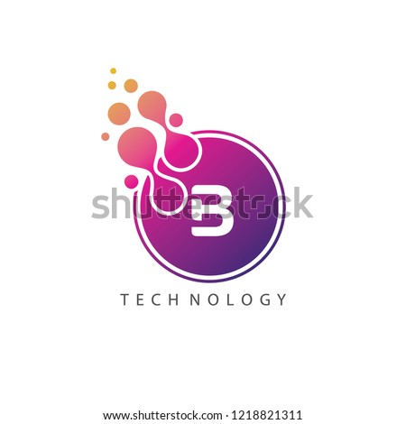 Dotted Circle Techno B Letter Logo