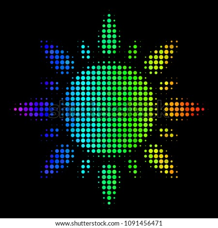 Stock Photo Dotted colorful halftone sun icon in rainbow color variations with horizontal gradient on a black background. Multicolored vector collage of sun pictogram made with circle particles.