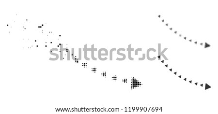 Dotted decline trend icon in disappearing, pixelated halftone and undamaged entire variants. Pixels are organized into vector dissolving dotted decline trend symbol.