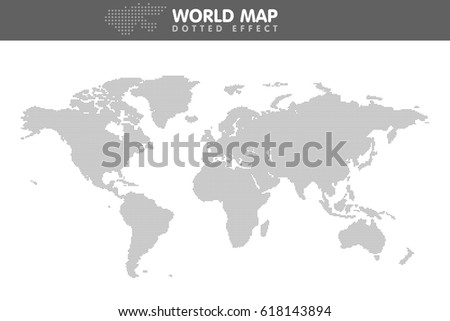 Dotted gray world map. Small dot Vector illustration.